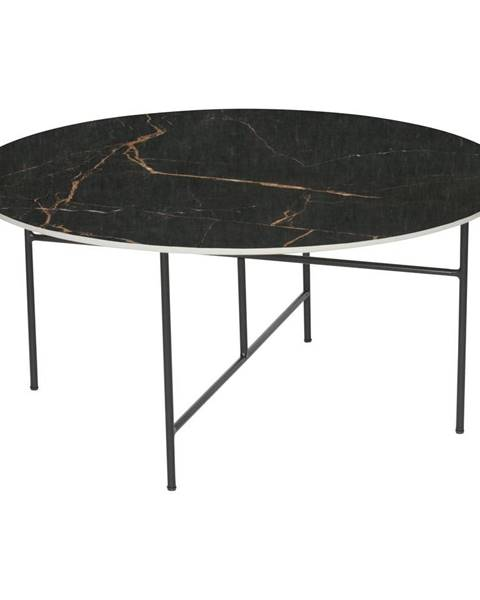 WOOOD Čierny konferenčný stôl s porcelánovou doskou WOOOD Vida, ⌀ 80 cm