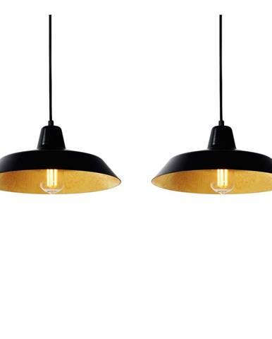 Čierne závesné dvojramenné svietidlo s detailmi v medenej farbe Bulb Attack Cinco, ⌀ 85 cm