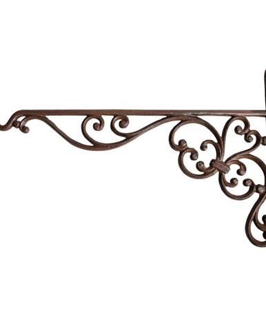 Nástenná liatinová konzola so závesom na kvetináč/kŕmidlo Ego Dekor volutami, výška 24,7 cm