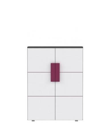 Komoda dvojdverová sivá/biela/fialová LOBETE 40
