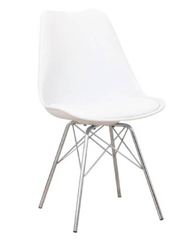 Stolička biela/chróm TAMORA