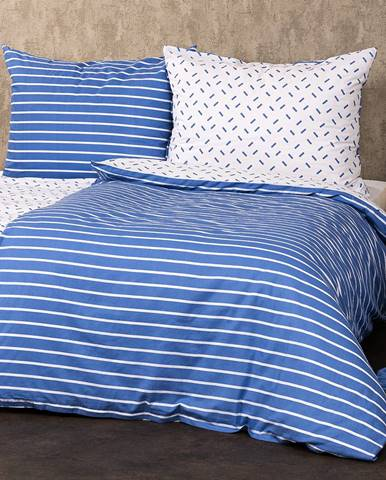 4Home Bavlnené obliečky Pruhy modrá, 220 x 200 cm, 2 ks 70 x 90 cm