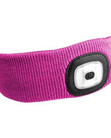 Čelenka s čelovkou 45lm, nabíjecí, USB, univerzální velikost, růžová SIXTOL
