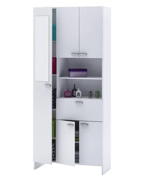 IDEA Nábytok Vysoká skrinka 1+4 dvere + 1 zásuvka KORAL biela