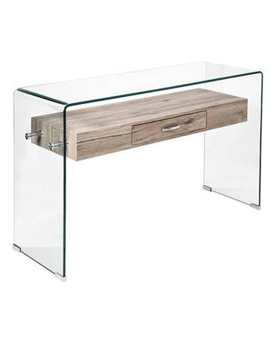 Odkladací stolík 1 zásuvka sklo/MDF