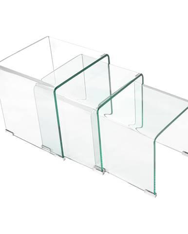 Sada 3 stolíkov sklo