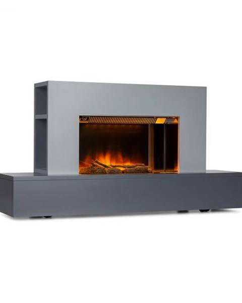 Klarstein Klarstein Heat 'n Beat, elektrický krb, 900/1800 W, LED, bluetooth reproduktor, sivý