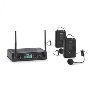 Auna Pro UHF200F-2B, sada 2-kanálových UHF bezdrôtových mikrofónov, prijímač, 2 x vreckový vysielač – headset
