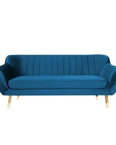 Modrá zamatová pohovka Mazzini Sofas Benito, 188 cm