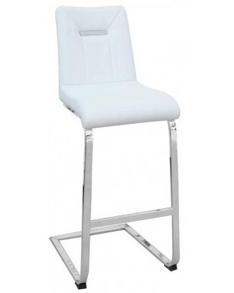 ASKO - NÁBYTOK Barová stolička Flex, biela ekokoža%