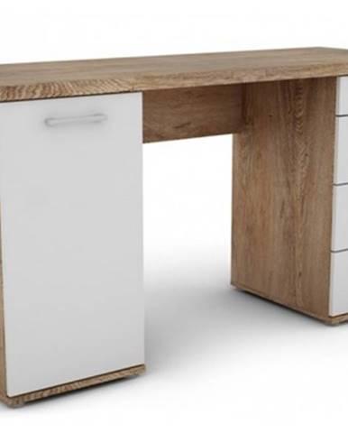 Písací stôl Walter, dub burgund/biely%
