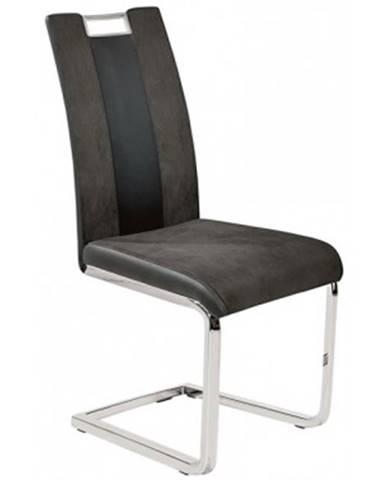 Jedálenská stolička Bari 1, šedá látka/čierna ekokoža%