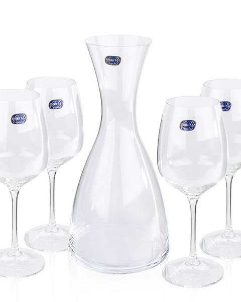 Banquet Bohemia Crystal Poháre na víno 4 ks  s karafou Giselle, 1200 ml
