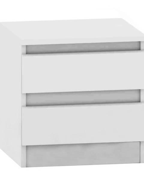 Tempo Kondela 2 šuplíkový nočný stolík biela HANY NEW 002