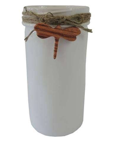 Keramická váza VK39 biela s vážkou
