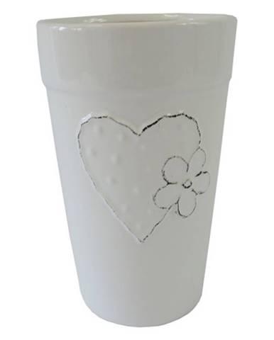 Keramická váza VK42 biela so srdiečkom a kvetinkou