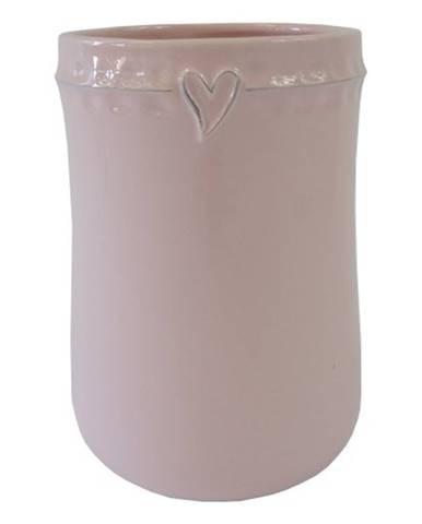 Keramická váza VK47 ružová so srdiečkom