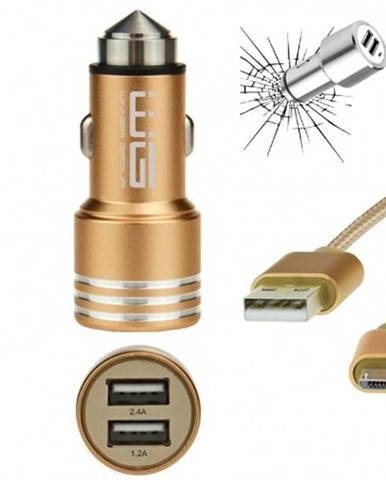 Autonabíjačka WG 2xUSB 2,4A + kábel Micro USB, zlatá