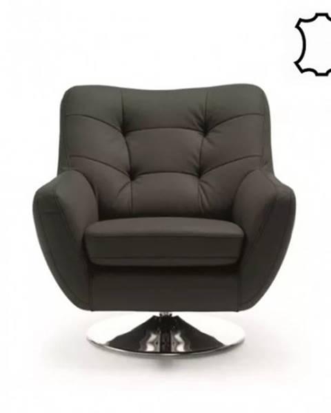 OKAY nábytok Kožené kreslo Boss II čierna