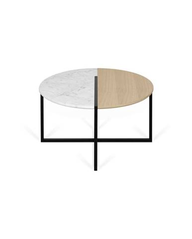 Konferenčný stolík s doskou z dubového dreva a mramoru TemaHome Sonata, ø80cm