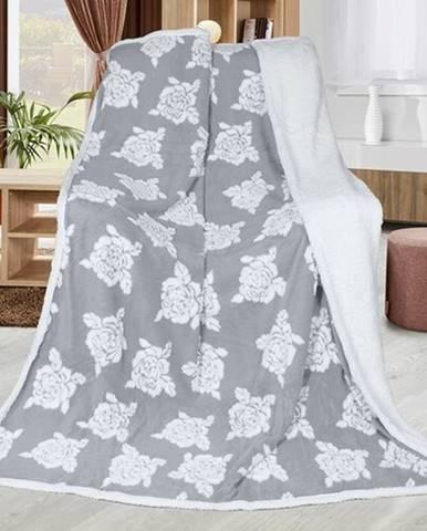 Bellatex Baránková deka Ruže sivá, 150 x 200 cm