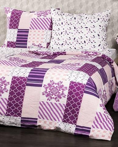 4Home Krepové obliečky Patchwork violet, 220 x 200 cm, 2 ks 70 x 90 cm