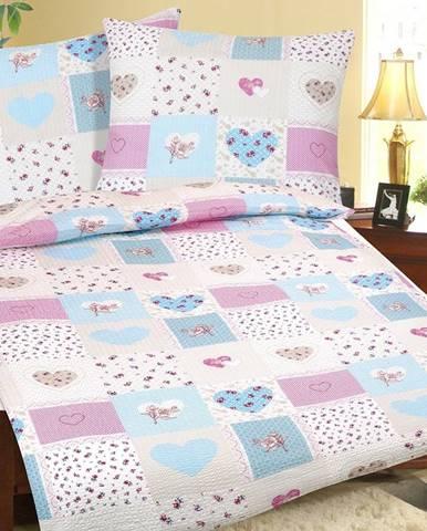 Bellatex Krepové obliečky Srdce modro-ružová