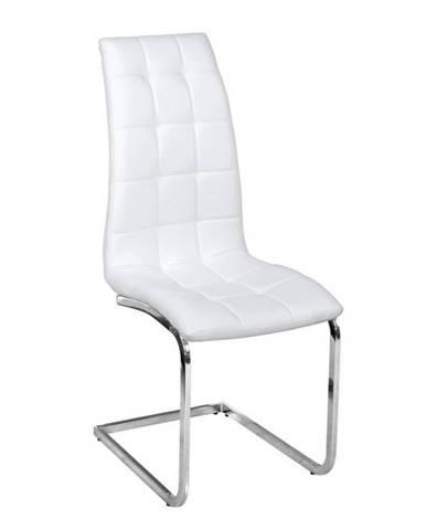 Jedálenská stolička biela ekokoža chróm DULCIA poškodený tovar