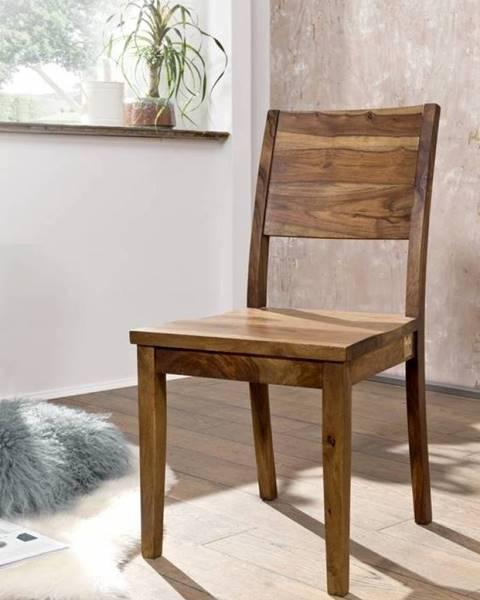 Bighome.sk ROUND Stolička drevená plné operadlo, hnedá, palisander