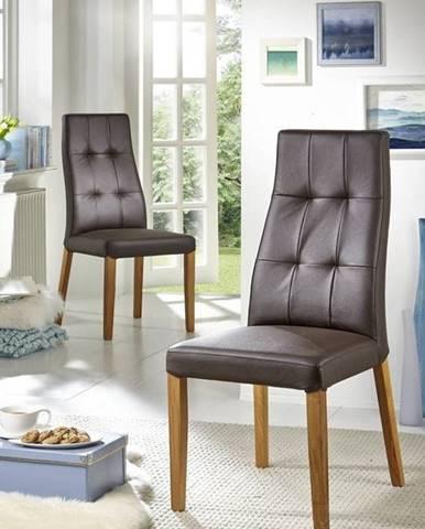 HAMBURG II. Jedálenská stolička, koža, hnedá
