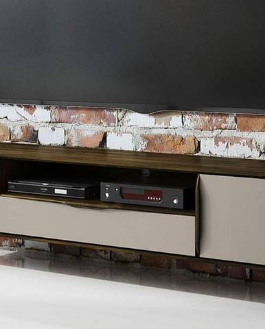 SKANE TV stolík 180x48 cm, dub, tmavohnedá