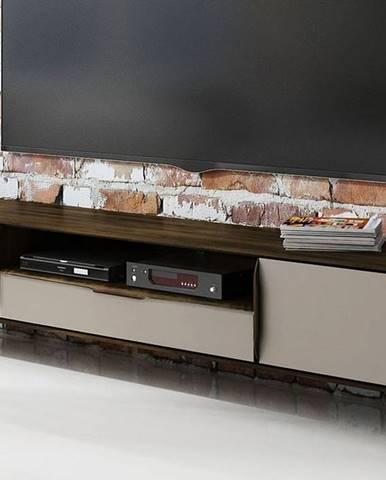 SKANE TV stolík 220x48 cm, dub, tmavohnedá