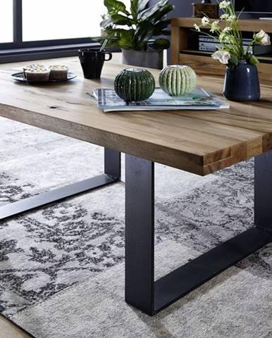 VEVEY Konferenčný stolík 110x75 cm, tmavohnedá, dub