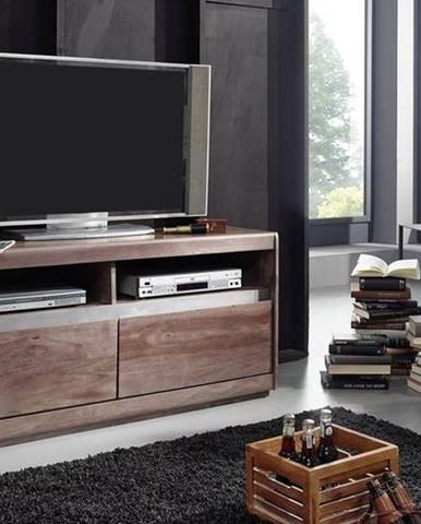 ROUND TV stolík 133x60 cm, dymová, palisander