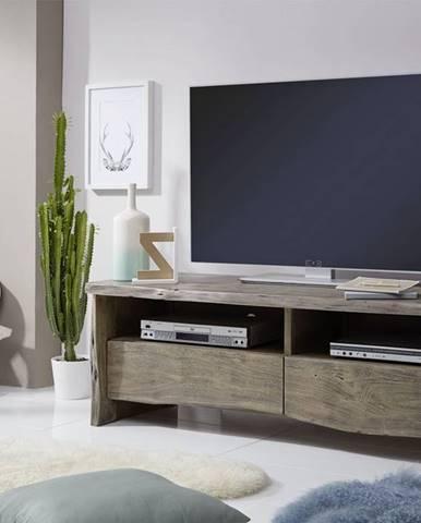 WOODLAND TV stolík 151x50 cm, sivá, akácia