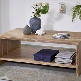 WOODLAND Konferenčný stolík s poličkou 120x70 cm, prírodná, akácia
