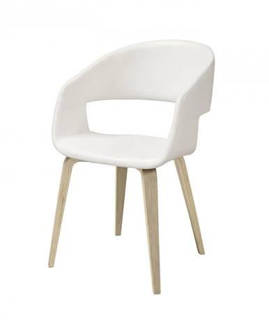 Jedálenská stolička s opierkami NOVA, biela, prírodná