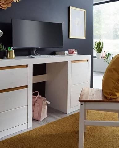 ALBURY Písací stôl 155x49 cm, borovica, biela