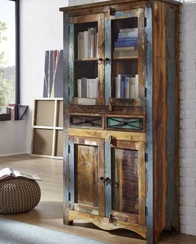 OLDTIME Vitrína so šuplíkmi 180x90 cm, staré drevo
