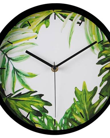 Nástenné hodiny greenery 25cm zelená biela
