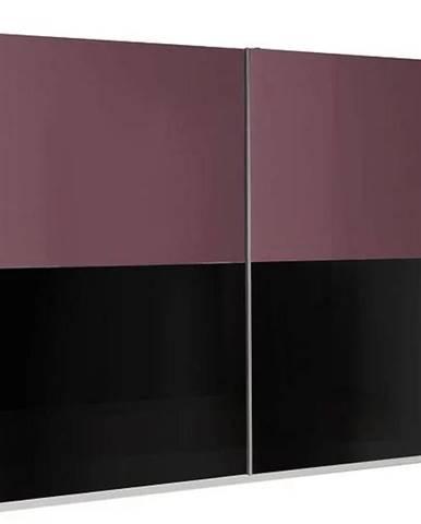 Skriňa Lux 11 244 cm fialová  lesklá/čierna lesklá