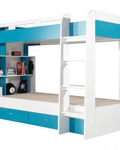 Poschodová posteľ MOBI M019 biely/turkus