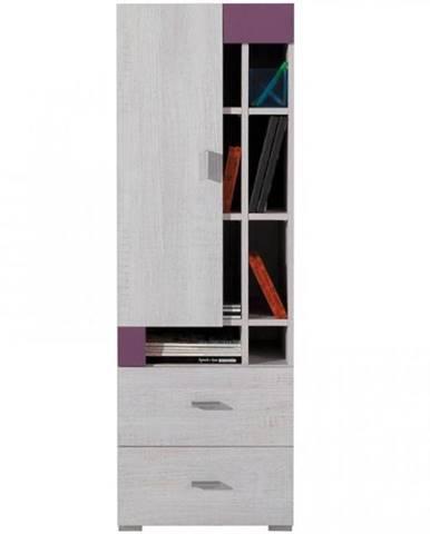 Regál Next NX-9 borovica biela/viola