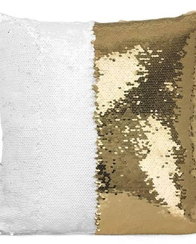 Flitrový vankúš 30x50 biely+zlatý