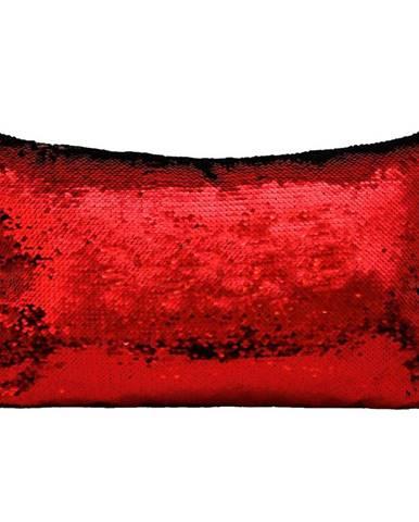 Flitrový vankúš 30x50 čierny+červený