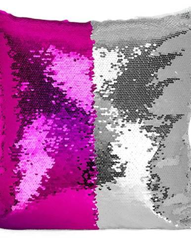 Flitrový vankúš 30x50 ružový+strieborný