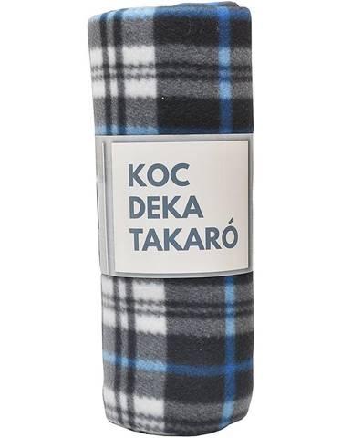 Flisová deka modro-biela mriežka 130x170