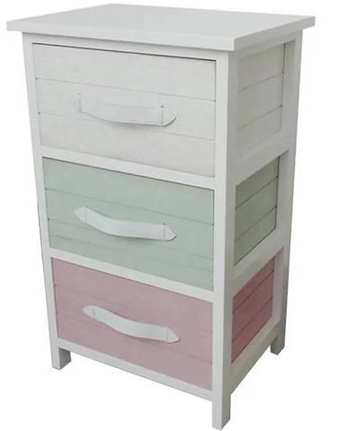 Komoda biela + 3 x farebné košíky H-1508262