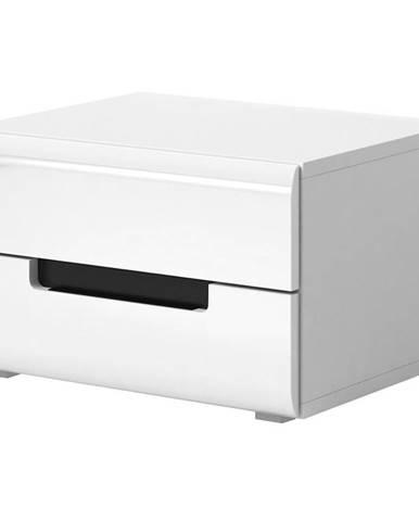 Nočný stolík Hektor 22 biely/biely lesk