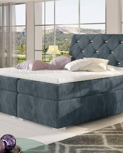 NABBI Beneto 140 čalúnená manželská posteľ s úložným priestorom tmavosivá (Paros 06)